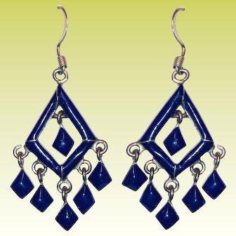 Stunning Sterling Lapis Lazuli Native American Drop Dangle Earrings
