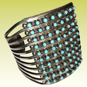 80 Snake Eyes Turquoise and Sterling 1940s Signed Zuni Bracelet Cuff