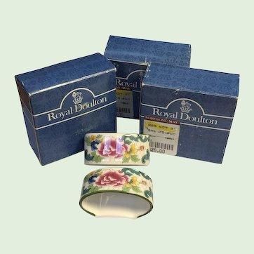6 Mint in Box Royal Doulton Floradora Green Napkin Rings - HTF