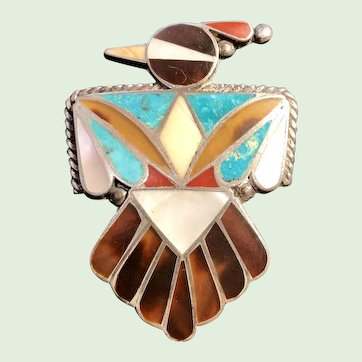 Fantastic Sterling Zuni Pueblo Thunderbird Pin with Exotic Stones and Shells
