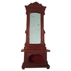 Wonderful Early German Dollhouse Red Stained Hall Stand