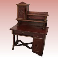 Wonderful Early German Dollhouse Red Stained  Desk ca 19th Century