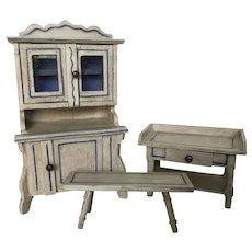 Fabulous Gottschalk Dollhouse Kitchen Set ca. 1908-1910