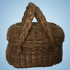 Wonderful Early Wicker Basket for Antique Doll