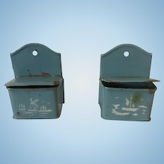 Wonderful Early Blue Tin holders for German Store or Kitchen