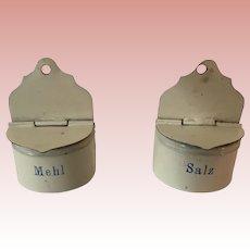 Wonderful Early  German Dollhouse Tin flour and Salt