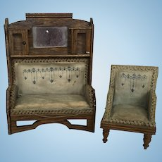Wonderful German Dollhouse Sofa and Chair ca. 1900