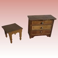German Schneegas Dollhouse Chest of Drawers and Table
