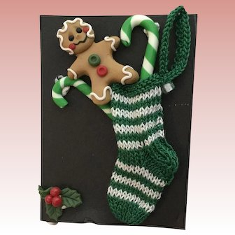 Tiny  Dollhouse Hand Knitted Christmas Stocking