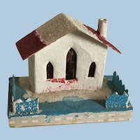 Vintage Christmas Putz Glitter House