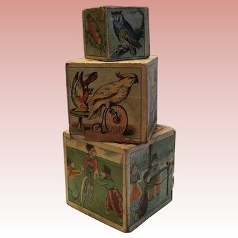Wonderful Early Child's Lithograph Stacking Blocks