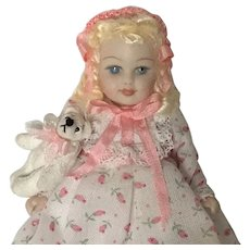 """Sweet 3 1/2"""" Bisque Doll with Teddy Bear Artist made"""