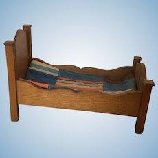 Wonderful  German Golden Oak  Schneegas Dollhouse Bed