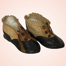 Wonderful  Antique Two Tone  German Doll Shoes