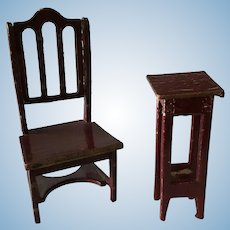 Gottschalk Dollhouse Plant Stand and Chair