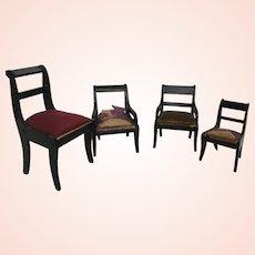 Four Dollhouse Biedermeier Chairs