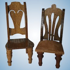 Vintage Wooden Dollhouse Chairs