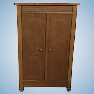 German Golden Oak Schneegas Dollhouse Wardrobe