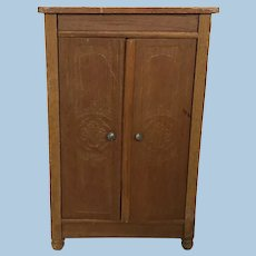 German Golden Oak Schneegas Dollhouse Wardrobe