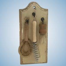 Early Dollhouse Wooden Brush Holder