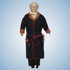 Dollhouse Elderly Man in Smoking coat With Mutton chops ca. 1880's