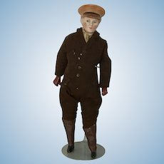 Fabulous Antique Dollhouse Chauffeur Doll with Molded Hat