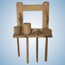 Early  German Dollhouse Wooden Utensil Holder