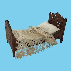 Beautiful American Fret wood Dollhouse Bed
