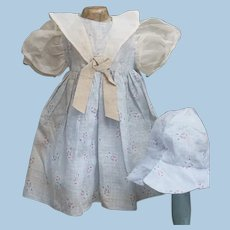 """Vintage Dress for 20"""" -22"""" Antique Doll with Hat"""