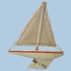 Sweet German Antique Sailboat Toy For Antique Doll