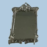 Lovely Dollhouse  Antique German Soft Metal Wall Mirror