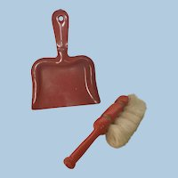Antique German Dollhouse Dust Pan and Brush