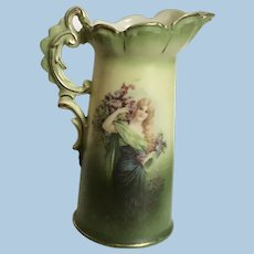 Beautiful Early Austria Pitcher with Young Woman