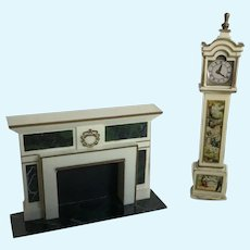Great  Dollhouse Ideal Petite Princess Clock and Fireplace