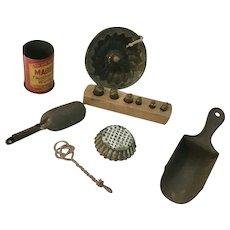 Antique German Dollhouse Kitchen or Store Accessories