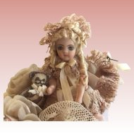 """Beautiful 2"""" Bisque Doll in Shoe"""