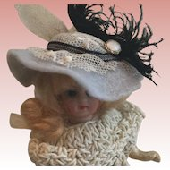 """Beautiful Hat Fits 5""""Bisque Doll Artist Made"""