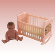 Vintage Renwal Pink Cradle and Baby