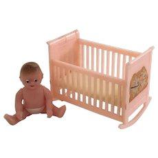 Vintage Renwal Pink Cradle and Baby