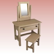 Wonderful German  Doll size Vanity and Bench