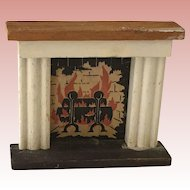 Vintage Kage Dollhouse Fireplace ca. 1940