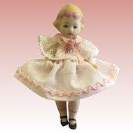 """Sweet Little  Bisque Artist Made Doll 2 1/2"""""""