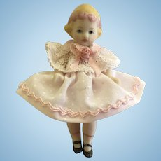 Sweet Little  Bisque Artist Made Doll 2 1/2""