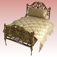 Fabulous Antique Dollhouse Metal Bed