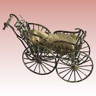 Wonderful German Doll or Dollhouse Metal Carriage.