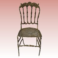 Darling German Dollhouse Soft Metal Chair ca. 1900