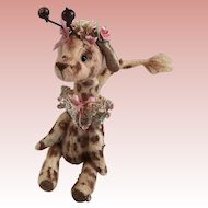 Fabulous whimsical  Tiny Giraffe Hand Sewn  by Artist