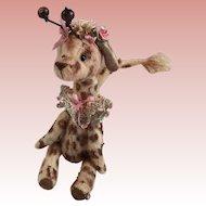 Fabulous whimsical  Tiny Giraffe Hand Sewn  by Artist
