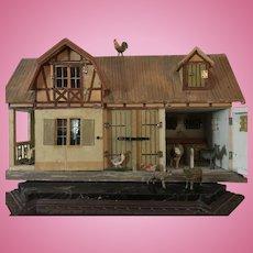 Fabulous Early German Gottschalk Stable/Barn ca. 1890-1912