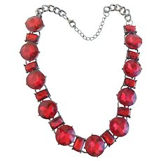 Mid-Century Large Headlight Vibrant Red Ruby Faceted Rhinestone & Silver Tone Prong Set Link Choker Necklace